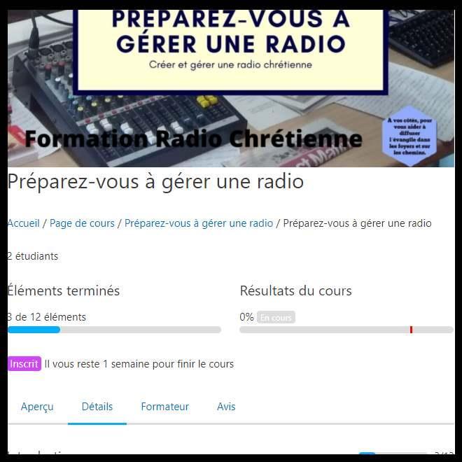 navigation dans le cours radio